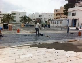 Impermeabilización bicapa sobre parkin, en plaza Europa Formentera