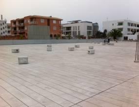 Plaza Europa Formentera, impermeabilización solución bicapa y pavimento de piedra cenia