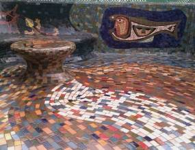 Poliuretano transparente en terraza artística famoso pintor valenciano. Impermeabilización sobre la recuperación de piezas de mosaico e